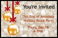 This End of Avondale Holiday Block Party, Thurs, Dec 18, 4-7 PM - Hosted by the businesses at the corner of Daniel Street and Savannah Highway in Avondale, West Ashley -- bring your friends and join us for holiday cheer, libations, treats and last-minute gift ideas! Hosts include: Any Body's Pilates, Serenity Ridge Massage, Body Sugaring Charleston, Polished Salon, Fix Salon and Julia Pagan Local Couture, and more....