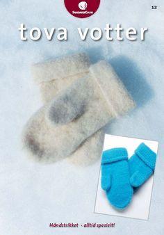 Tova tøfler til vesla ♡ Baby Mittens, Fingerless Mittens, Knit Mittens, Mitten Gloves, Mittens Pattern, Felted Slippers, Wrist Warmers, Free Pattern, Knit Crochet