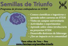 Programa de jóvenes embajadoras en STEM, es un taller de un día que permitirá a niñas en Puerto Rico aprender más acerca de las carreras en ciencia, tecnología, ingeniería y matemáticas (STEM), alimentar su curiosidad y creatividad y a la vez ayudarles a convertirse en embajadoras de STEM en sus comunidades.