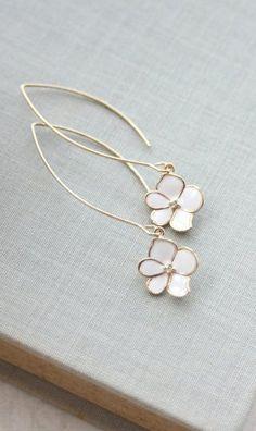 White Gold Enamel Flower Dangle Earrings. Marquise