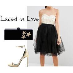 Vestido de fiesta de Laced In Love. Talla 38. Color: Negro / Crema.