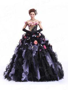 カラードレス プリンセスライン プリント生地 お花散りばめ ブラック?紫 オフショルダー フリル JWLT14027