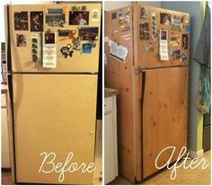 13 Ways To Hack Your Hideous Rental Kitchen On A Budget (And Without Losing Your Deposit) #10 If an outdated fridge is cramping your style, cover it up with contact paper. Gold stripes, chevron patterns, chalkboard paper or wood grain contact paper, like this photo, add charm and whimsy for only a couple bucks.
