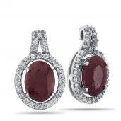 Royal Jewels Collection, Natural Faceted Ruby Sterling Silver Earrings
