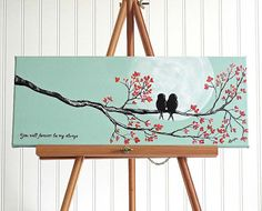 Original Canvas Painting Love Bird Painting door LindaFehlenGallery
