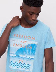 Pull&Bear - man - t-shirts - surf-print t-shirt - sky blue - 05241590-I2015
