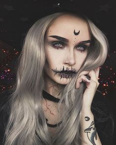Long Star Grey Wavy Synthetic Lace Front Wig - Make up - halloween art Halloween Makeup Pirate, Disfarces Halloween, Pretty Halloween, Halloween Costumes, Childrens Makeup, Witchy Makeup, Purple Witch Makeup, Pretty Witch Makeup, Demon Makeup