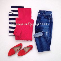 Instagram @jacquelyn_grace_ ; j.crew; Gap; 7 for all mankind; 7fam; Red and Navy; stripes.
