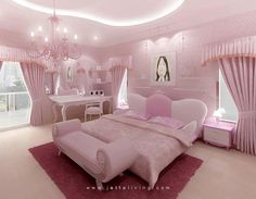 Pink is the perfect colour for girl's bedroom! Discover more pink inspirations with Circu furniture for kids' bedroom: CIRCU. Pink Bedroom Decor, Pink Bedrooms, Glitter Bedroom, Woman Bedroom, Girls Bedroom, Luxury Kids Bedroom, Dream Rooms, Dream Bedroom, Rose Bedroom