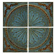 Imax Quarter Medallion Wall Panels In Blue - Set Of 4 - Beyond the Rack