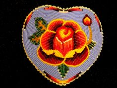 "The Corner Mercantile, ""Indian Goods' and authentic Indian Trading Post Large size 11 cut beaded barrette( with classic Shoshone Rose motif in heart shaped form. By Mary Papse, Shoshone. Native Beading Patterns, Beadwork Designs, Loom Patterns, Indian Beadwork, Native Beadwork, Native American Beadwork, Beading Projects, Beading Tutorials, Native American Crafts"
