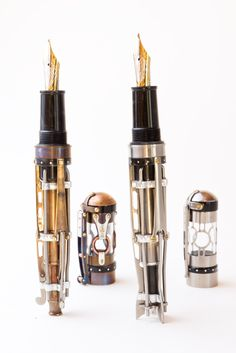 All kinds of inspired to start making pens now...  Hand-crafted steampunk fountain pens by Brian Gisi