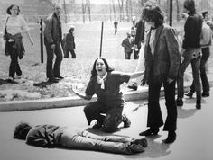 Pulitzer Prize winner 1971. Four students died and nine others were wounded on May 4, 1970, when members of the Ohio National Guard opened fire on students protesting the Vietnam War at Kent State University in Ohio. In this Pulitzer Prize-winning photo, taken by Kent State photojournalism student John Filo, Mary Ann Vecchio can be seen screaming as she kneels by the body of a slain student.