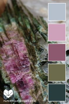Color Palette from natural elements with soft greens, pinks and grays. Purple Color Schemes, Purple Color Palettes, Green Colour Palette, Nature Color Palette, Mauve Color, Color Combos, Sunset Color Palette, Color Bordo, Relaxing Colors