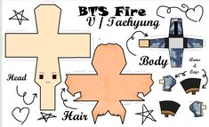 Taehyung / V Papercraft 3d Paper Crafts, Paper Toys, Diy And Crafts, Bts Not Today, Game Bts, Bts Book, Kpop Diy, Note Doodles, Bts Drawings