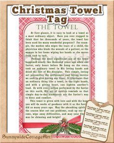 Christmas Towel Story and Gift Tag by SunnysideCottageArt on Etsy - Towel Christmas Service, Christmas Games For Family, Neighbor Christmas Gifts, Christmas Poems, Christmas Crafts For Gifts, Etsy Christmas, 12 Days Of Christmas, Christmas Activities, A Christmas Story