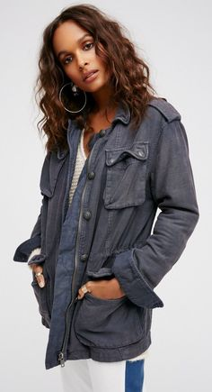 In a washed cotton, this surplus military inspired jacket features pocket detailing and exposed buttons with etched accents. Adjustable drawstring on the inside for a customized cinched waist. Military Style Jackets, Military Jacket, Military Surplus, Military Army, Cool Outfits, Casual Outfits, Casual Clothes, Coats For Women, Clothes For Women