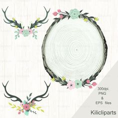 Wedding clipart, wood  Wreaths, wedding flowers, Floral Wreaths, digital and Watercolor, antlers and flowers, instant download.
