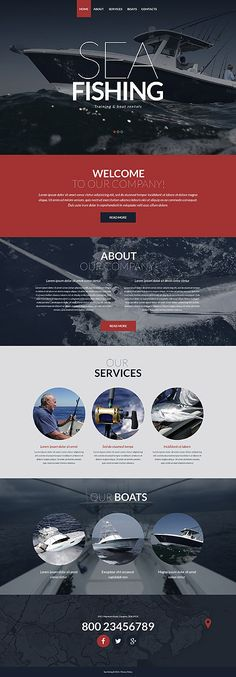 Template 52143 - Sea Fishing  Responsive Website Template