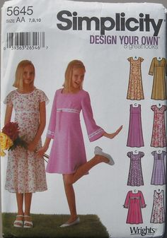 Simplicity 5645 Empire Waist Dress Pullover Dress by omasbricabrac, $4.95