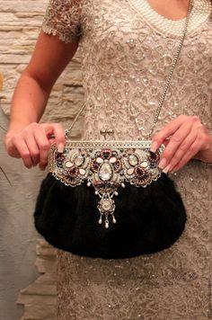 Купить Женская зимняя сумка из меха норки, вечерняя сумочка Мадмуазель - белый, абстрактный, сиреневый