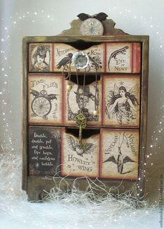 Decoupage and steampunk:minichest of drawers