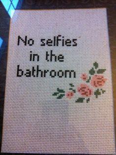 No Selfies in the Bathroom Handmade Cross door SnarkyArtCompany