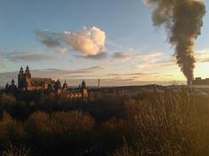 Sunset and fire over the Kelvingrove Gallery, Glasgow