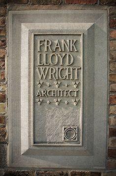 """Frank Lloyd Wright, Architect"" - Marker at his home & studio, Oak Park, Illinois. Organic Architecture, Beautiful Architecture, Beautiful Buildings, Architecture Details, Frank Lloyd Wright Buildings, Frank Lloyd Wright Homes, Wisconsin, Lake Michigan, Oak Park Illinois"
