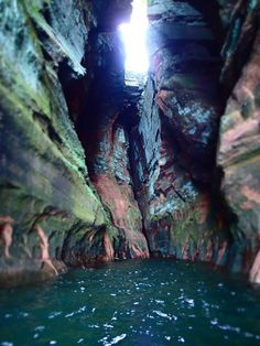 Sea caves at Apostle Islands National Lakeshore in northern Wisconsin.