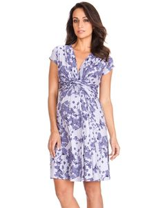 Soft stretch fabric V neckline Knot front empire line detailing Cap sleeves Worn by the Duchess of Cambridge, our beautiful Blossom Knot Front Maternity Dress is the perfect choice for a sunny day. Featuring a feminine floral print in soft lavender hues, this is one of our most flattering maternity wear.