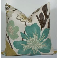 Floral Designer Teal pillow - Decorative Pillow Cover- KRAVET EURO... ($50) via Polyvore featuring home, home decor, throw pillows, aqua throw pillows, teal accent pillows, cotton throw pillows, gray euro sham and grey euro sham