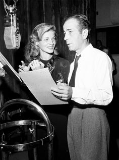 "via vintagesonia:  Humphrey Bogart and Lauren Bacall perform the adaptation of the film To Have and Have Not on the CBS radio program ""Lux Radio Theatre"" at the Ricardo Montalban Theater, Hollywood, California. - October 14, 1946"