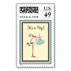 Vintage Stork It's a Boy Birth Announcement Stamp. Wanna make each letter a special delivery? Try to customize this great stamp template and put a personal touch on the envelope. Just click the image to get started!