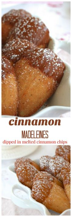 cinnamon madeleines dipped in melted cinnamon chips /createdbydiane/ cinnamon madeleines dipped in melted cinnamon chips /createdbydiane/ Mini Desserts, Cookie Desserts, Just Desserts, Cookie Recipes, Dessert Recipes, French Desserts, French Food, Yummy Treats, Sweet Treats