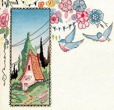 Blank card - another darling cottage - this time with bluebirds.