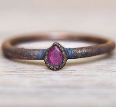All you beautiful July babies || Ruby is your birthstone and we just LOVE this gorgeous Ruby Droplet and Copper Ring