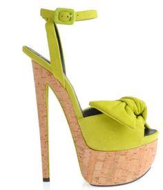 Giuseppe Zanotti Lime Suede Cork Platform Sandals $895 Spring 2013 #Shoes #Heels #Zanottis