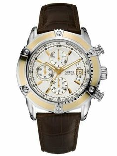 GUESS High-Gear Sport Waterpro Chronograph Wat GUESS. $145.45. Mixed metal case. Water resistant. Mens watch. Brown croc leather strap. Whtie dial