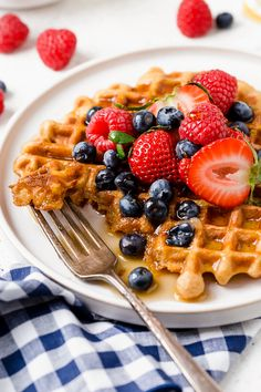 Whip up these protein-packed Yogurt Waffles for breakfast and freeze the rest for easy meal prep!