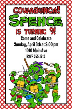 The ninja turtle invitations thank yous printables custom the ninja turtle invitations thank yous printables custom personalized chevron party set party ideas pinterest ninja turtle invitations turtle party solutioingenieria Images