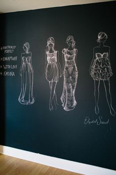 Good idea for a sewing and design room in your home--chalk board wall for sketching