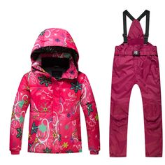 98774a5175 Skiing jacket+pant snow suit fur lining -20 DEGREE ski suit kids winter  clothing set for boys