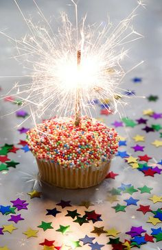 Birthday-sparklers for candles on a cupcake with sprinkles. Happy Birthday Quotes, Happy Birthday Images, Happy Birthday Greetings, Birthday Messages, Birthday Pictures, Happy Birthday Me, It's Your Birthday, Birthday Parties, Happy Birthday Fireworks