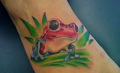 Red and green frog tattoo design