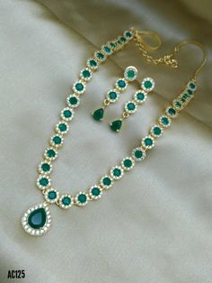 Beautiful long haram studded with green and white color CZs. Combination with same pair of ear rings looks perfect. Rose Gold Wedding Jewelry, Gold Jewelry, Jewelry Accessories, Jewelry Necklaces, Jewelry Design, Beaded Necklace, Jewellery, Indian Jewelry, Fashion Jewelry