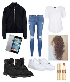 """""""casual"""" by rabiahk on Polyvore featuring Timberland, McQ by Alexander McQueen, Frame Denim, Topshop, NIKE, Yves Saint Laurent, women's clothing, women, female and woman"""