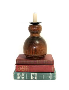 Wood Candleholder Turned Wood Candlestick Holder Vintage Wood Rustic Table Decor Early American Cabin Decor Rustic Lighting