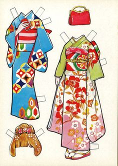 I got 2 more Japanese paper doll books! So…I'll just go ahead and put these here… Paper Doll Costume, Paper Doll Craft, Paper Dolls Book, Vintage Paper Dolls, Doll Crafts, Paper Toys, Paper Crafts, Paper Cutting, Papier Diy
