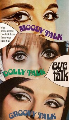 """Max Factor eye make-up ad, c.1960s """"Who needs eyes? One look at these eyes says it all"""""""